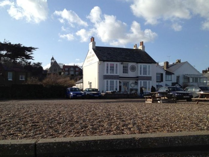 View of the Zetland Arms pub on the beach